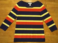 Banana Republic Women's Blue, Orange & Yellow Striped 3/4 Sleeve Sweater - Small