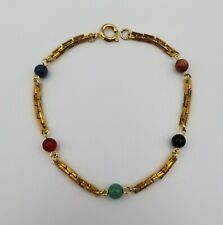 "Pretty Gold Tone Chain Style Bracelet with Gemstone Beads 7 1/4"" Long"