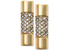 NWT $95 Michael Kors City Barrel Gold-Tone Pavé Crystal Bar Stud Earrings