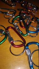 Un moschettone dritto bloccaggio 5 cms alluminio colori, portachiavi chiavi