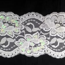 "wholesale White/ Black Stretch Cupped Sequin lace trim 3 .5"" USA Shipper"
