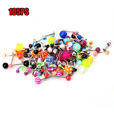 105x Mix Nose Navel Tongue Eyebrow Lip Piercing Bar Barbell Body Jewelry New