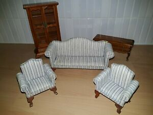 BEAUTIFUL Dolls House LOUNGE SET. 1/12th scale. EXCELLENT CONDITION. LIVING ROOM