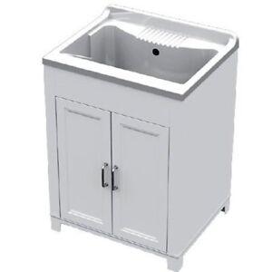 Lavatoio Lavello In Resina Doppia Anta 60x50 Altezza 85 Cm Con Mobile In Pvc
