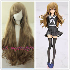 New wig Cosplay Dragon X Tiger/ Aisaka Taiga Long Pale Brown Curly Wig