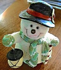 5f8a94639 Snowman with Lantern & Candy Cane Stick Figurine Winter Christmas Home Decor