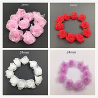 New 10-100pcs Organza Ribbon Flowers Bows Pearl For Sewing Appliques Wedding Mix