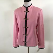 St. John Collection NWT $885 Knit Jacket Wool Knit Long Sleeve Pink Size 6