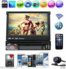 Retractable Single 1 Din Car Audio Stereo GPS Navi DVD Player Bluetooth iPod+Cam