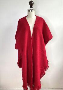 Boyne Valley Weavers Ireland Soft Wool Shawl Poncho Wrap fringe scarf Red boucle