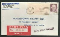 May 17 1972 Certified Mail use Union, NJ to Newark, NJ Scott 1395 with meter