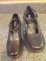 5M | Women's Brown Leather Mary Jane BASS Wedge Heel Pumps *S1