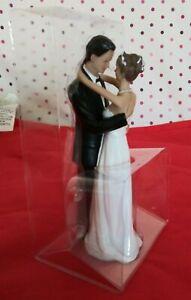 Bride Groom Dancing Figurine loving embrace Caucasian Cake Topper