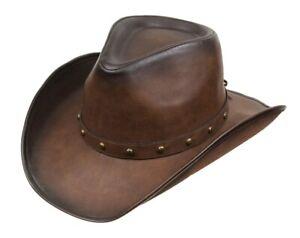 Kenny K Men's Faux Leather Western Hat DL10 Cowboy Style