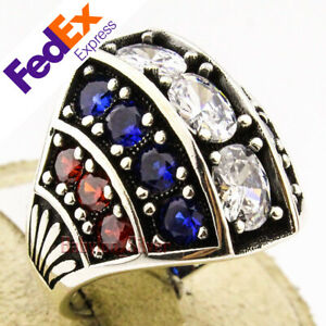 925 Sterling Silver Ruby, Sapphire & Clear CZ Turkish Men's Luxury Ring All Size