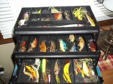 Vintage Plano Tackle Box Filled With  Lures And Other Equipment