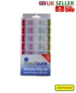 Medisure Weekly Pill Box Daily Medicine Organiser Push Button 7 Day Dispenser