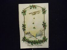 Victorian scrap # 6402 -CHRISTMAS CARD - AIR PLANE AND HOLLY - CIR: 1910