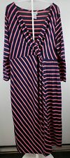 Motherhood Maternity faux wrap Dress sz XL Navy blue and pink