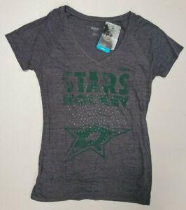 Dallas Stars NHL Reebok Women's Gray/Diamond Studs V-Neck Short Sleeve T-shirt