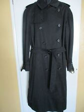 MENS DOUBLE BREASTED BLACK BURBERRYS LONDON TRENCH COAT SIZE 44 LONG