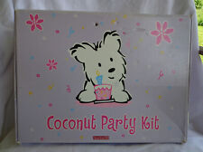 American Girl Coconut Party Kit Box w/ Plates Cups Decorations Etc Incomplete