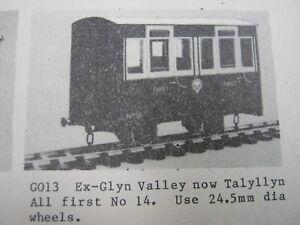 Tenmille GO13 Ex GVT Talyllyn 1st Coach Kit SM32 16mm Garden Railway Accucraft