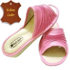 Damen-Pantoffeln aus Echtleder ohne Muster