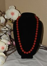 """VINTAGE CHINESE HAND-CARVED LACQUER RED CINNABAR FLOWER NECKLACE 31"""""""