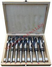 """8 Pc Jumbo Drill Bit Set S & D HSS Large Drill Bit Sets 6"""" Long 8 Piece Drills"""