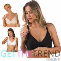 Womens Nursing Bra Ladies Maternity Feeding Soft Cup Non Wired Bras Cotton