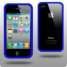 Blue bumper plastic case with metal buttons for iPhone 4 4S