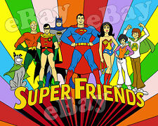 EXTRA LARGE! SUPER FRIENDS Poster Print HANNA BARBERA Main Title Card SUPERMAN