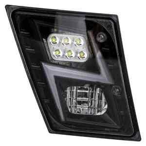 Volvo VNL LED Fog Light Lightning Design Black    Pair   (LH+RH)   Fits 03-17