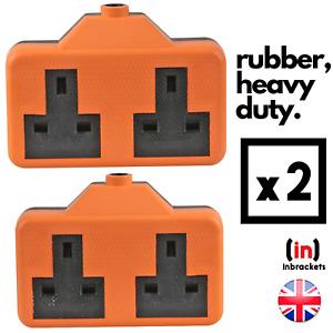 Heavy DUTY Rubber Socket Extension Electric Trailing Socket High Impact 2PCS UK