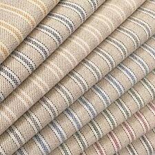 Cotton Rich Linen Look Fabric Ticking Stripes 280cm Wide