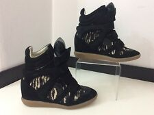 Isabel Marant Black Beckett  Size 37 Uk 4 Wedge Sneakers Boots Pony Hair Print