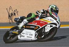 Efrén Vázquez mano firmado saxoprint-rtg Honda 12x8 Foto 2014 Moto3.