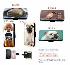 Dog leather wallet phone case Cute Pug Poodle cover for iPhone Samsung Xperia