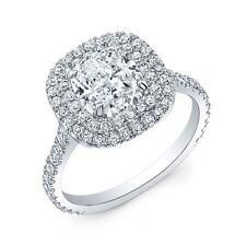 14k Double Halo 2.15 Ct Cushion Cut Diamond U-Setting Engagement Ring E, IF GIA