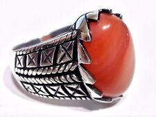 Shark Teeth Design Natural Agate Gemstone 925 Sterling Silver Mens Ring