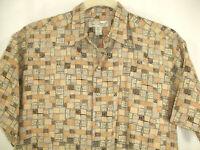 Tori Richard Shirt Salmon Brown Geometric Hawaiian Camp Aloha Lawn USA Sz L