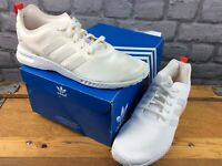 ADIDAS OG LADIES UK 5 EU 38 ZX FLUX SMOOTH WHITE RED TRAINERS RRP £70 M