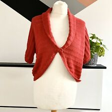 EAST CARDIGAN SIZE 14 RED | Shrug warm smart casual linen blend