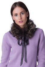 LIU JO Raccoon Fur Collar Scarf With Ribbon Tie Fully Lined