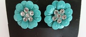 Flower Stud Earrings Retro Style with Crystals Diamante Rockabilly Turquoise