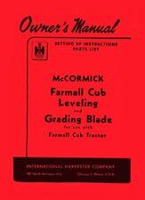International Farmall Cub Tractor Leveling Grading Blade Owner Operators Manual