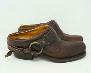 Frye Belted Harness Black Leather Clog Mules Brown Womens US 8.5