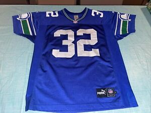 Adult 46 Blue RICKY WATTERS Authentic 90s Puma football Seattle Seahawks Jersey