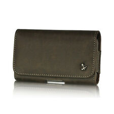 Brown Premium Horizontal Leather Case Pouch Holster for HTC HD2 / Nexus